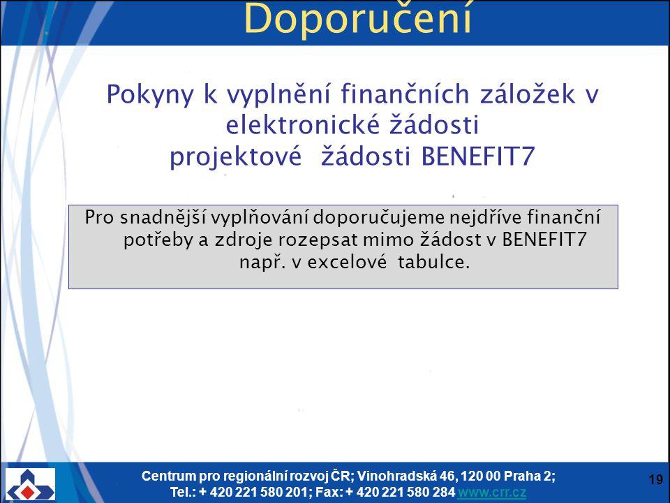 Centrum pro regionální rozvoj ČR; Vinohradská 46, 120 00 Praha 2; Tel.: + 420 221 580 201; Fax: + 420 221 580 284 www.crr.czwww.crr.cz 19 Pokyny k vyplnění finančních záložek v elektronické žádosti projektové žádosti BENEFIT7 Pro snadnější vyplňování doporučujeme nejdříve finanční potřeby a zdroje rozepsat mimo žádost v BENEFIT7 např.