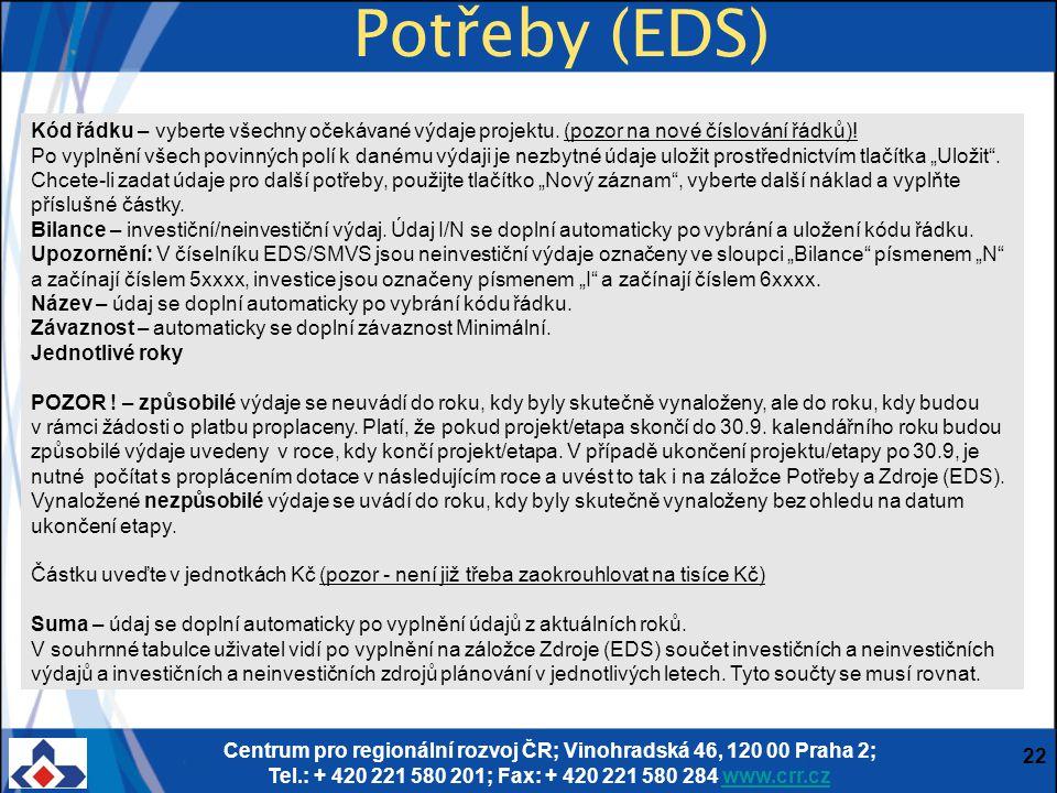 Centrum pro regionální rozvoj ČR; Vinohradská 46, 120 00 Praha 2; Tel.: + 420 221 580 201; Fax: + 420 221 580 284 www.crr.czwww.crr.cz 22 Potřeby (EDS) Kód řádku – vyberte všechny očekávané výdaje projektu.