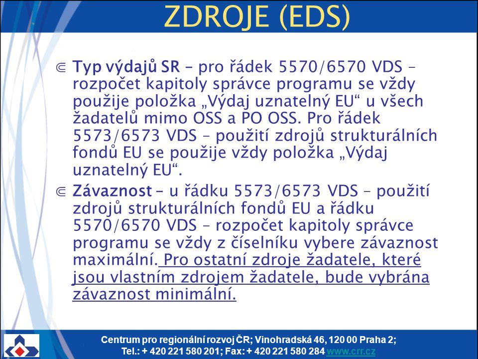 Centrum pro regionální rozvoj ČR; Vinohradská 46, 120 00 Praha 2; Tel.: + 420 221 580 201; Fax: + 420 221 580 284 www.crr.czwww.crr.cz ZDROJE (EDS) ⋐T