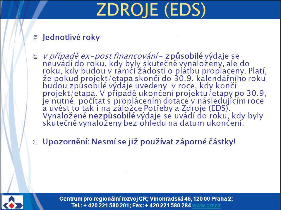Centrum pro regionální rozvoj ČR; Vinohradská 46, 120 00 Praha 2; Tel.: + 420 221 580 201; Fax: + 420 221 580 284 www.crr.czwww.crr.cz ZDROJE (EDS) ⋐J
