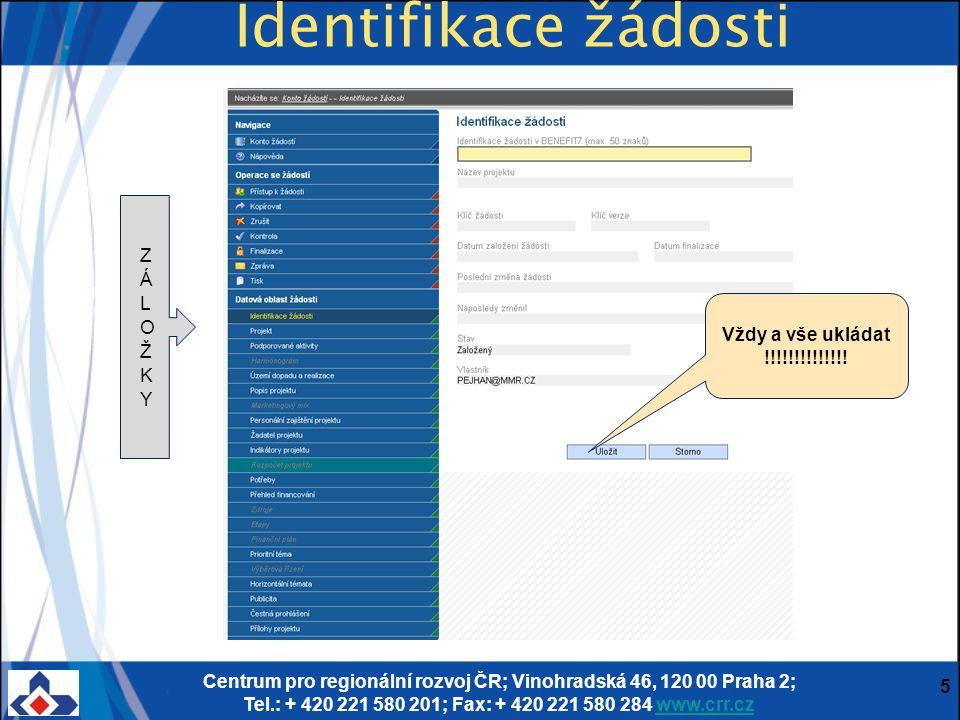 Centrum pro regionální rozvoj ČR; Vinohradská 46, 120 00 Praha 2; Tel.: + 420 221 580 201; Fax: + 420 221 580 284 www.crr.czwww.crr.cz 5 Identifikace