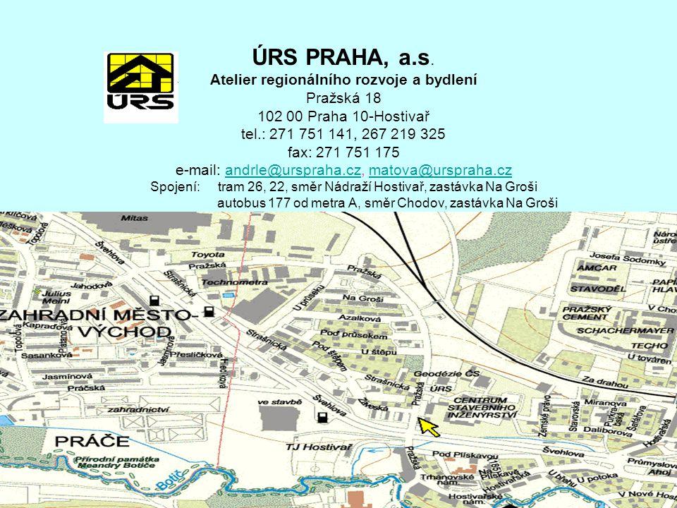 ÚRS PRAHA, a.s. Atelier regionálního rozvoje a bydlení Pražská 18 102 00 Praha 10-Hostivař tel.: 271 751 141, 267 219 325 fax: 271 751 175 e-mail: and