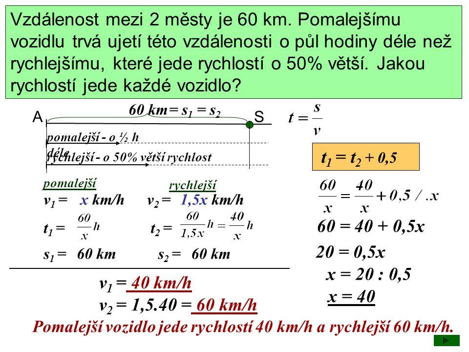 Vzdálenost mezi 2 městy je 60 km. Pomalejšímu vozidlu trvá ujetí této vzdálenosti o půl hodiny déle než rychlejšímu, které jede rychlostí o 50% větší.