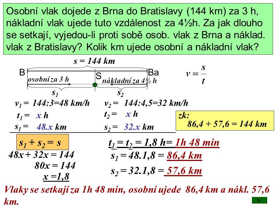 Osobní vlak dojede z Brna do Bratislavy (144 km) za 3 h, nákladní vlak ujede tuto vzdálenost za 4½h. Za jak dlouho se setkají, vyjedou-li proti sobě o