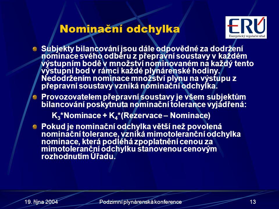 19. října 2004Podzimní plynárenská konference13 Nominační odchylka Subjekty bilancování jsou dále odpovědné za dodržení nominace svého odběru z přepra