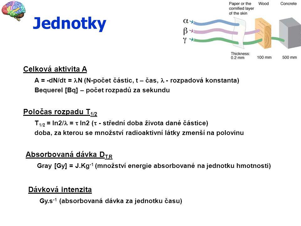Celková aktivita A A = -dN/dt = N (N-počet částic, t – čas, - rozpadová konstanta) Bequerel [Bq] – počet rozpadů za sekundu Poločas rozpadu T 1/2 T 1/2 = ln2/ =  ln2 (  - střední doba života dané částice) doba, za kterou se množství radioaktivní látky zmenší na polovinu Absorbovaná dávka D T,R Gray [Gy] = J.Kg -1 (množství energie absorbované na jednotku hmotnosti) Dávková intenzita Gy.s -1 (absorbovaná dávka za jednotku času) Jednotky