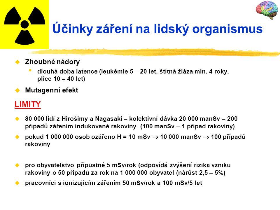 Účinky záření na lidský organismus u Zhoubné nádory dlouhá doba latence (leukémie 5 – 20 let, štítná žláza min. 4 roky, plíce 10 – 40 let) u Mutagenní
