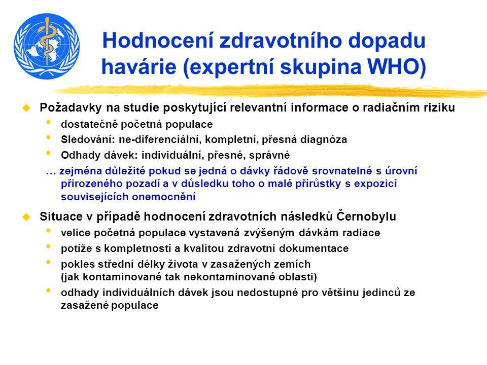 Hodnocení zdravotního dopadu havárie (expertní skupina WHO) u Požadavky na studie poskytující relevantní informace o radiačním riziku dostatečně počet