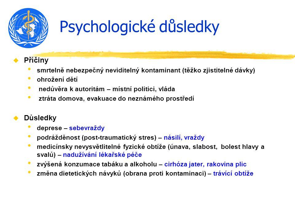 Psychologické důsledky u Příčiny smrtelně nebezpečný neviditelný kontaminant (těžko zjistitelné dávky) ohrožení dětí nedůvěra k autoritám – místní politici, vláda ztráta domova, evakuace do neznámého prostředí u Důsledky deprese – sebevraždy podrážděnost (post-traumatický stres) – násilí, vraždy medicínsky nevysvětlitelné fyzické obtíže (únava, slabost, bolest hlavy a svalů) – nadužívání lékařské péče zvýšená konzumace tabáku a alkoholu – cirhóza jater, rakovina plic změna dietetických návyků (obrana proti kontaminaci) – trávící obtíže