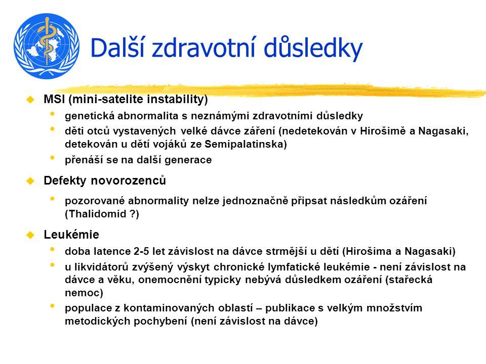 Další zdravotní důsledky u MSI (mini-satelite instability) genetická abnormalita s neznámými zdravotními důsledky děti otců vystavených velké dávce zá