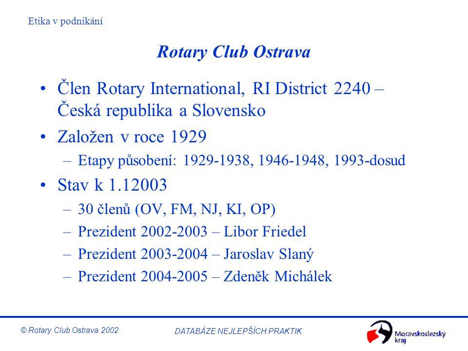 Etika v podnikání © Rotary Club Ostrava 2002 DATABÁZE NEJLEPŠÍCH PRAKTIK Rotary Club Ostrava Člen Rotary International, RI District 2240 – Česká repub