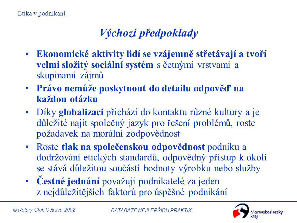 Etika v podnikání © Rotary Club Ostrava 2002 DATABÁZE NEJLEPŠÍCH PRAKTIK Výchozí předpoklady Ekonomické aktivity lidí se vzájemně střetávají a tvoří v