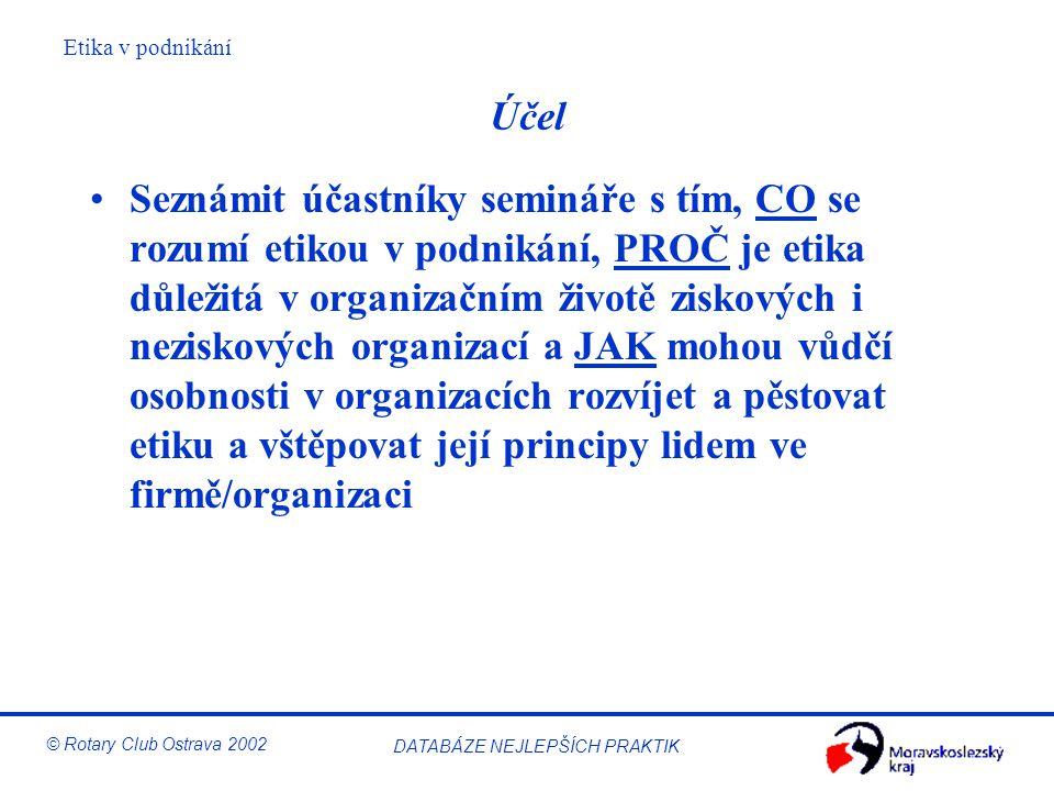 Etika v podnikání © Rotary Club Ostrava 2002 DATABÁZE NEJLEPŠÍCH PRAKTIK Motto RI 2003-04 Podejme pomocnou ruku