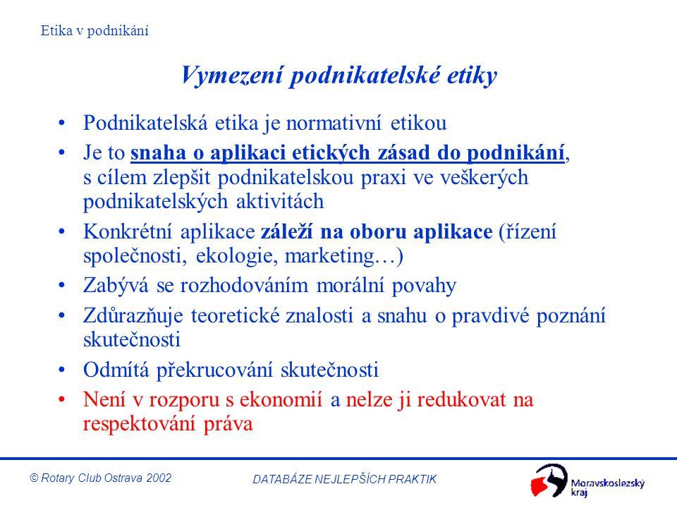 Etika v podnikání © Rotary Club Ostrava 2002 DATABÁZE NEJLEPŠÍCH PRAKTIK Vymezení podnikatelské etiky Podnikatelská etika je normativní etikou Je to s