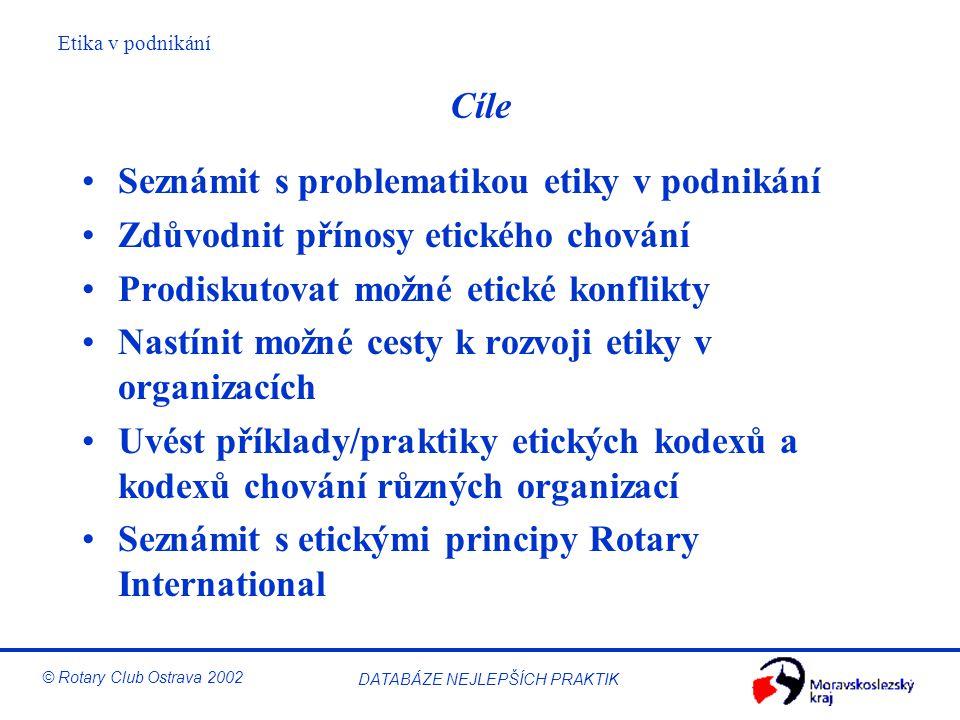 Etika v podnikání © Rotary Club Ostrava 2002 DATABÁZE NEJLEPŠÍCH PRAKTIK Obsah 9:00 – 9:15 Úvod 9:15 – 9:35 Seznámení s Rotary 9:35 – 10:30 Úvod do podnikatelské etiky 10:30 – 10:40 Přestávka 10:40 – 12:00 Etika v organizačním životě 12:00 – 13:00 Oběd 13:00 – 14:30 Pěstování/budování etiky (kodex, osobní etika) 14:30 – 14:40 Přestávka 14:40 – 15:40 Praktické příklady 15:40 – 15:50 Přestávka 15:50 – 16:20 Etika v Rotary 16:20 – 16:30 Užitečné kontakty 16:30 – 17:00 Shrnutí a závěr