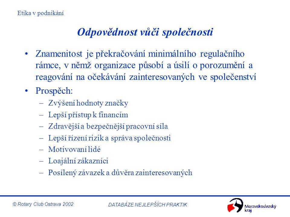 Etika v podnikání © Rotary Club Ostrava 2002 DATABÁZE NEJLEPŠÍCH PRAKTIK Odpovědnost vůči společnosti Znamenitost je překračování minimálního regulačn