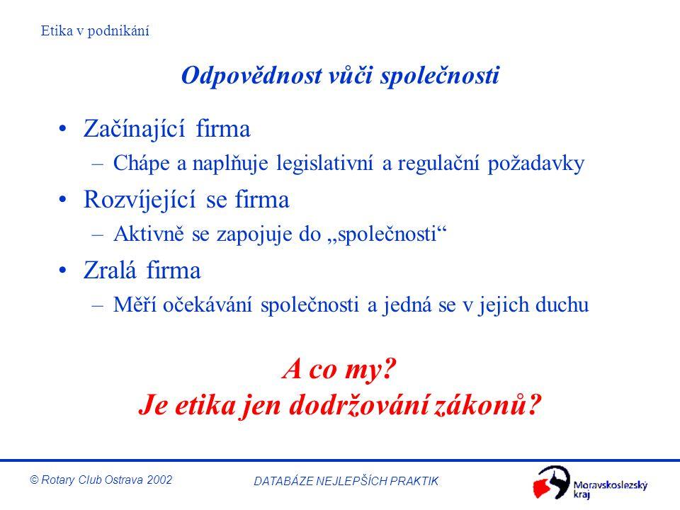 Etika v podnikání © Rotary Club Ostrava 2002 DATABÁZE NEJLEPŠÍCH PRAKTIK Odpovědnost vůči společnosti Začínající firma –Chápe a naplňuje legislativní
