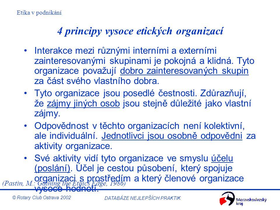 Etika v podnikání © Rotary Club Ostrava 2002 DATABÁZE NEJLEPŠÍCH PRAKTIK 4 principy vysoce etických organizací Interakce mezi různými interními a exte