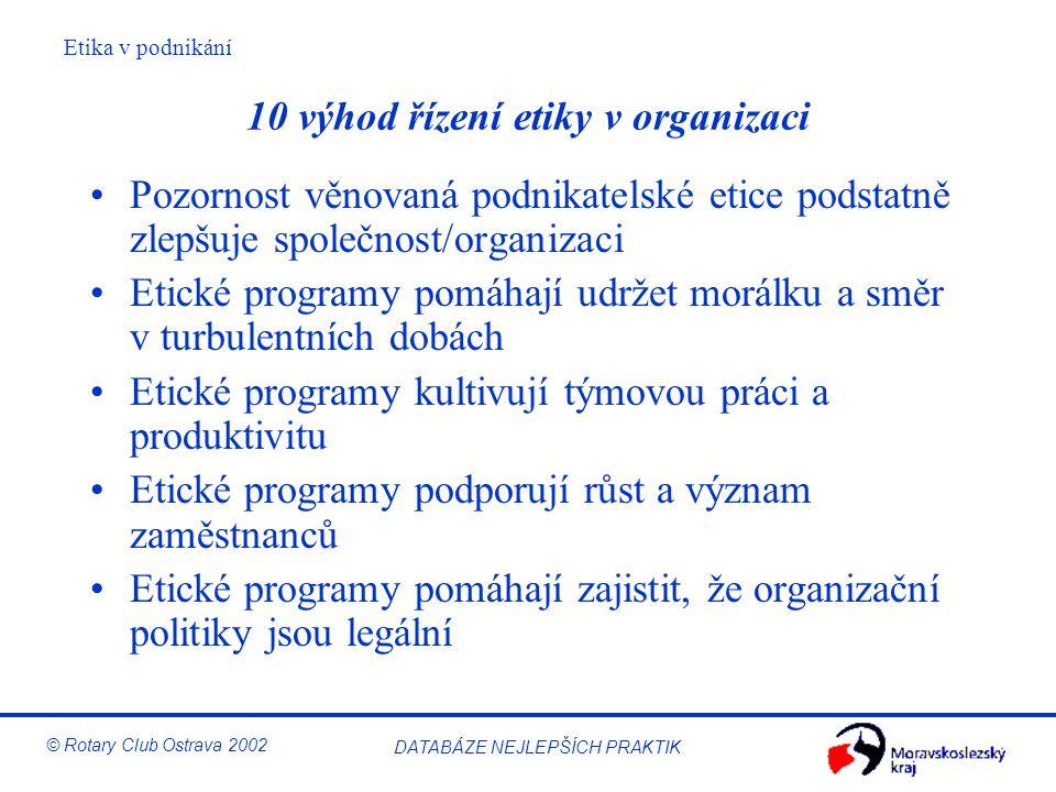 Etika v podnikání © Rotary Club Ostrava 2002 DATABÁZE NEJLEPŠÍCH PRAKTIK 10 výhod řízení etiky v organizaci Pozornost věnovaná podnikatelské etice pod