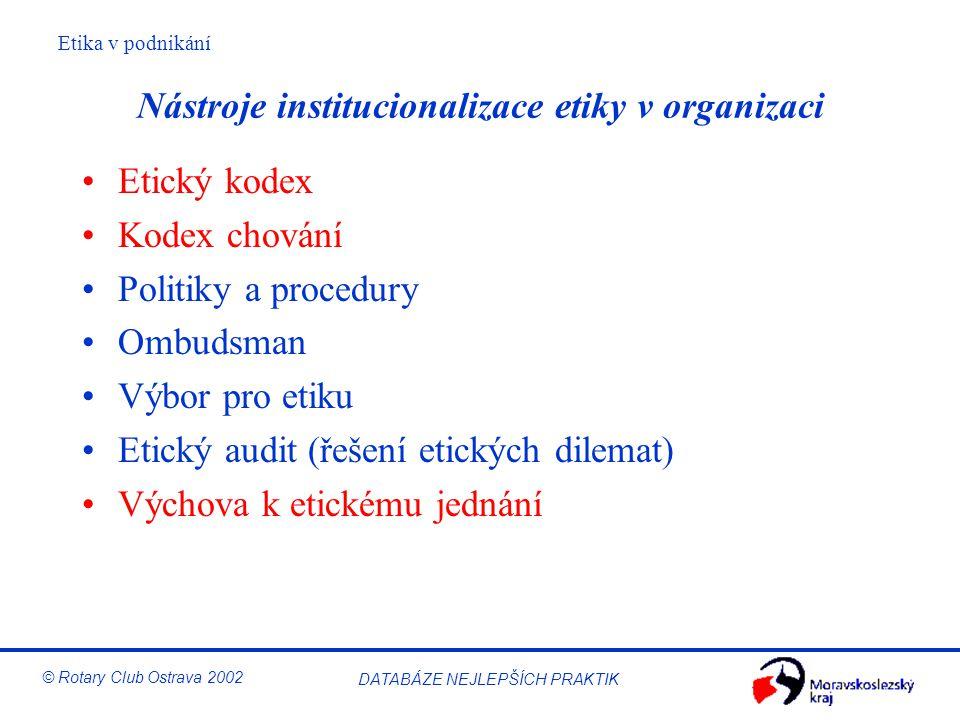 Etika v podnikání © Rotary Club Ostrava 2002 DATABÁZE NEJLEPŠÍCH PRAKTIK Nástroje institucionalizace etiky v organizaci Etický kodex Kodex chování Pol