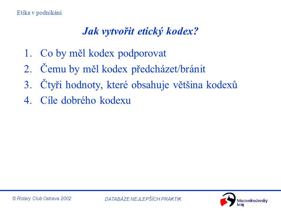 Etika v podnikání © Rotary Club Ostrava 2002 DATABÁZE NEJLEPŠÍCH PRAKTIK Jak vytvořit etický kodex? 1.Co by měl kodex podporovat 2.Čemu by měl kodex p