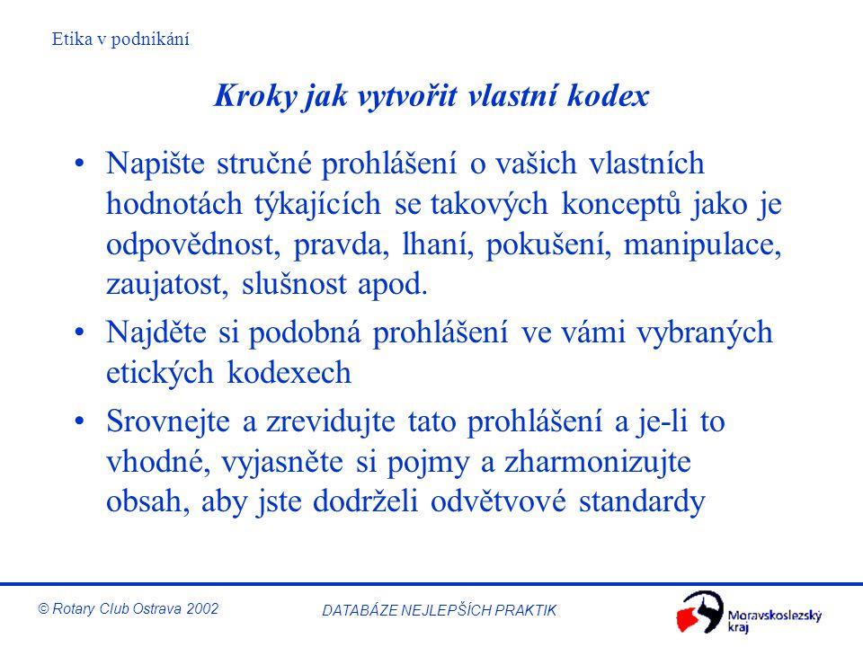 Etika v podnikání © Rotary Club Ostrava 2002 DATABÁZE NEJLEPŠÍCH PRAKTIK Kroky jak vytvořit vlastní kodex Napište stručné prohlášení o vašich vlastníc