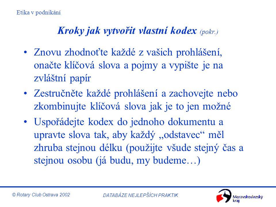 Etika v podnikání © Rotary Club Ostrava 2002 DATABÁZE NEJLEPŠÍCH PRAKTIK Kroky jak vytvořit vlastní kodex (pokr.) Znovu zhodnoťte každé z vašich prohl