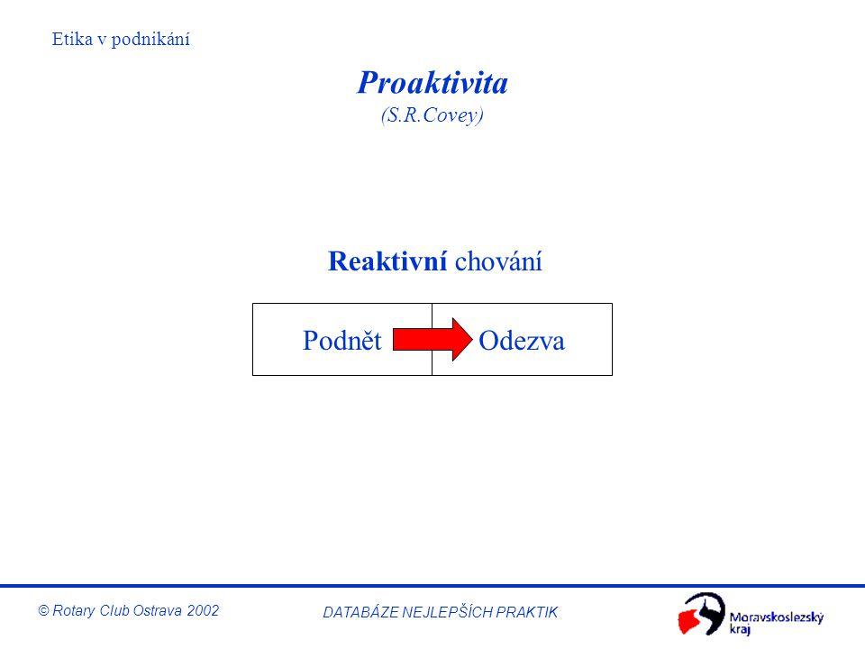 Etika v podnikání © Rotary Club Ostrava 2002 DATABÁZE NEJLEPŠÍCH PRAKTIK Proaktivita (S.R.Covey) PodnětOdezva Reaktivní chování