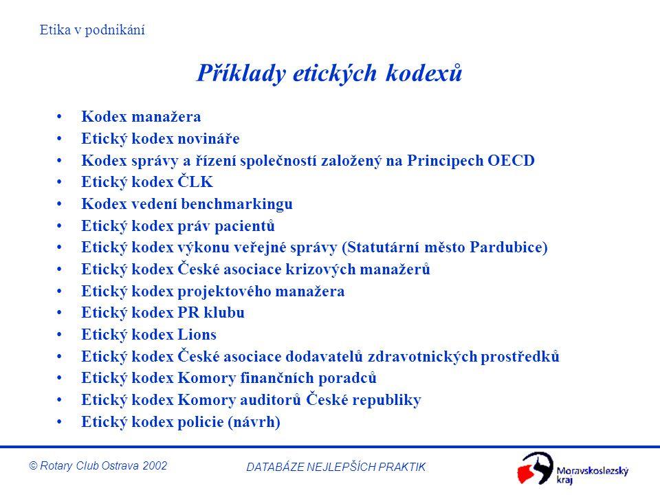 Etika v podnikání © Rotary Club Ostrava 2002 DATABÁZE NEJLEPŠÍCH PRAKTIK Příklady etických kodexů Kodex manažera Etický kodex novináře Kodex správy a