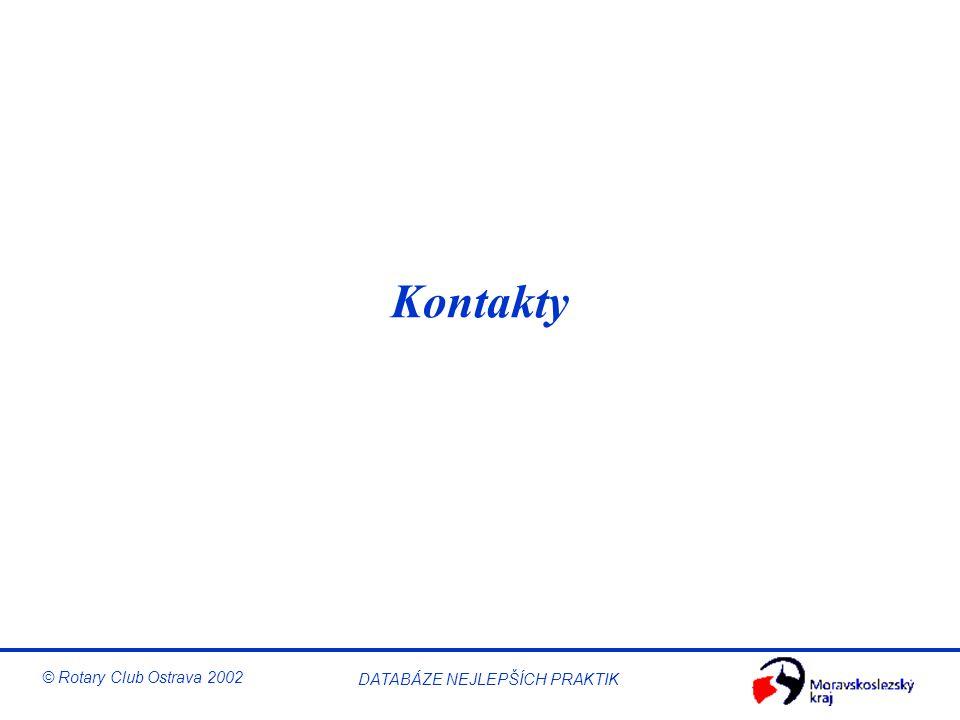 © Rotary Club Ostrava 2002 DATABÁZE NEJLEPŠÍCH PRAKTIK Kontakty