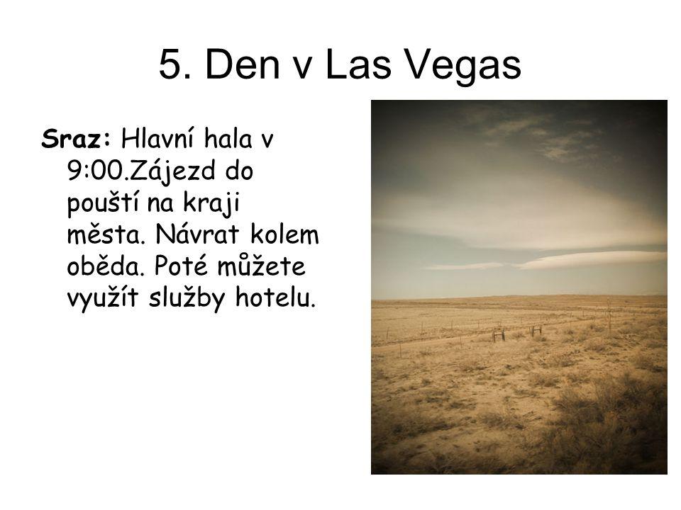 5. Den v Las Vegas Sraz: Hlavní hala v 9:00.Zájezd do pouští na kraji města. Návrat kolem oběda. Poté můžete využít služby hotelu.