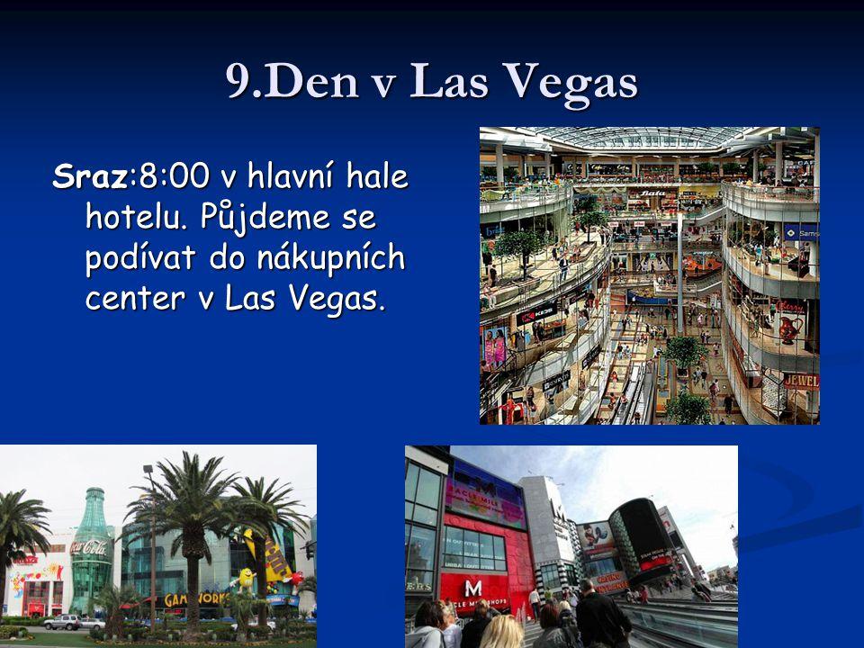9.Den v Las Vegas Sraz:8:00 v hlavní hale hotelu. Půjdeme se podívat do nákupních center v Las Vegas.