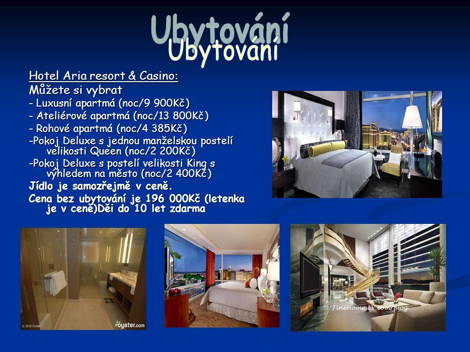 Hotel Aria resort & Casino: Můžete si vybrat - Luxusní apartmá (noc/9 900Kč) - Ateliérové apartmá (noc/13 800Kč) - Rohové apartmá (noc/4 385Kč) -Pokoj