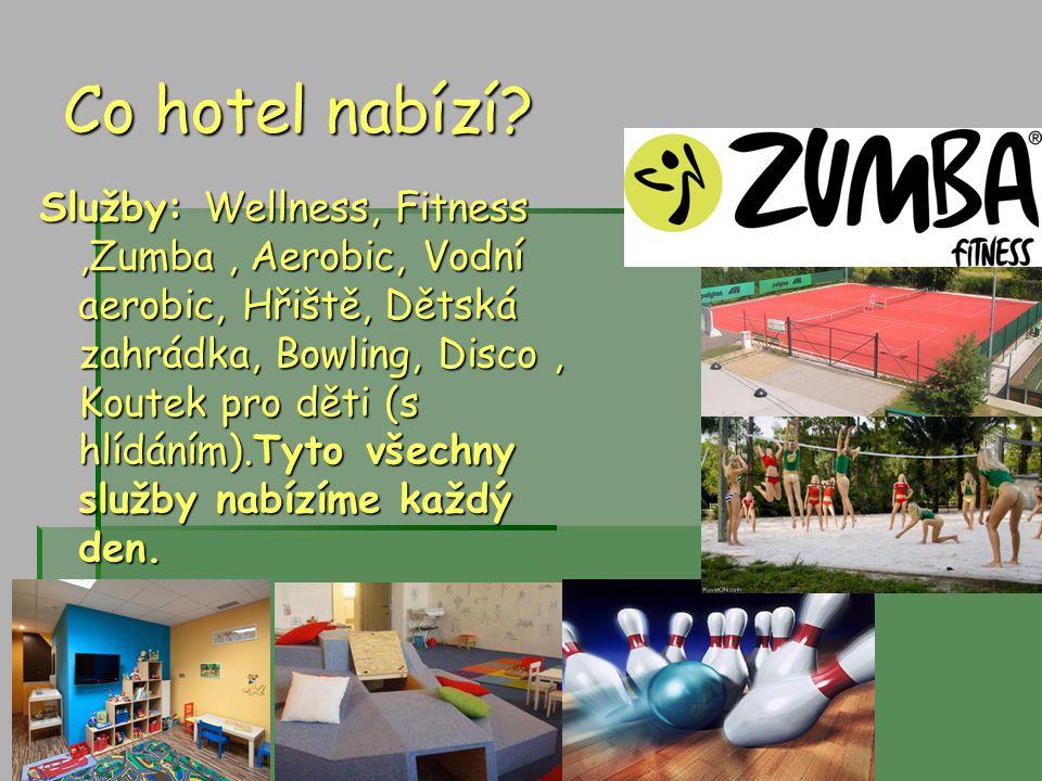Co hotel nabízí? Služby: Wellness, Fitness,Zumba, Aerobic, Vodní aerobic, Hřiště, Dětská zahrádka, Bowling, Disco, Koutek pro děti (s hlídáním).Tyto v