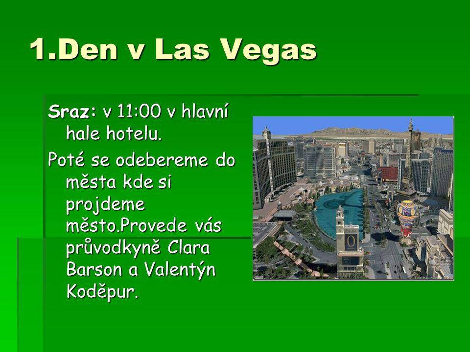 1.Den v Las Vegas Sraz: v 11:00 v hlavní hale hotelu. Poté se odebereme do města kde si projdeme město.Provede vás průvodkyně Clara Barson a Valentýn
