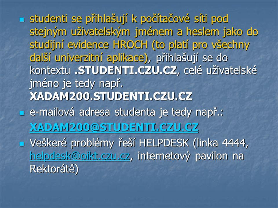 studenti se přihlašují k počítačové síti pod stejným uživatelským jménem a heslem jako do studijní evidence HROCH (to platí pro všechny další univerzi