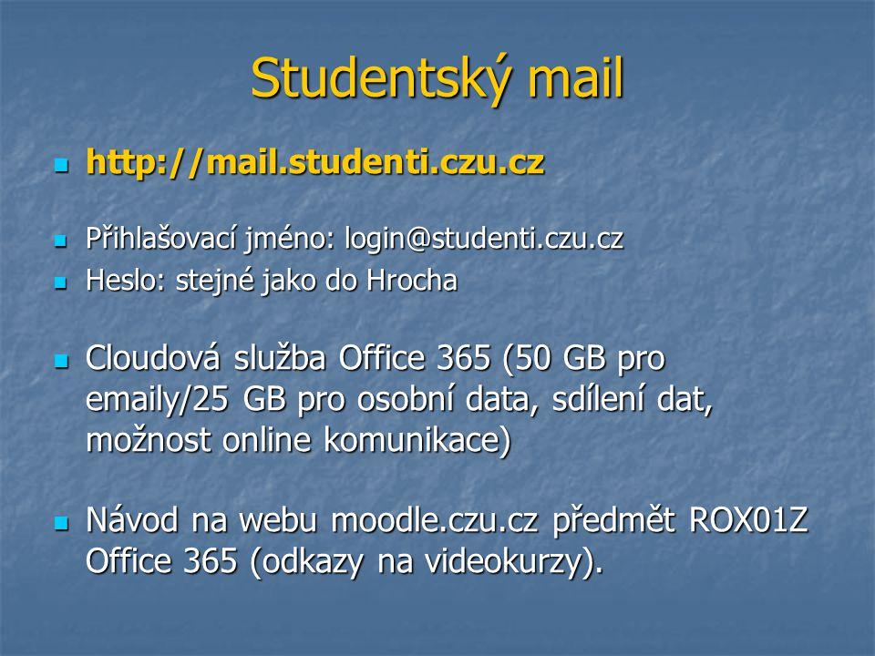 Studentský mail http://mail.studenti.czu.cz http://mail.studenti.czu.cz Přihlašovací jméno: login@studenti.czu.cz Přihlašovací jméno: login@studenti.c