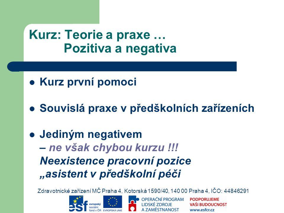 Kurz: Teorie a praxe … Pozitiva a negativa Kurz první pomoci Souvislá praxe v předškolních zařízeních Jediným negativem – ne však chybou kurzu !!.