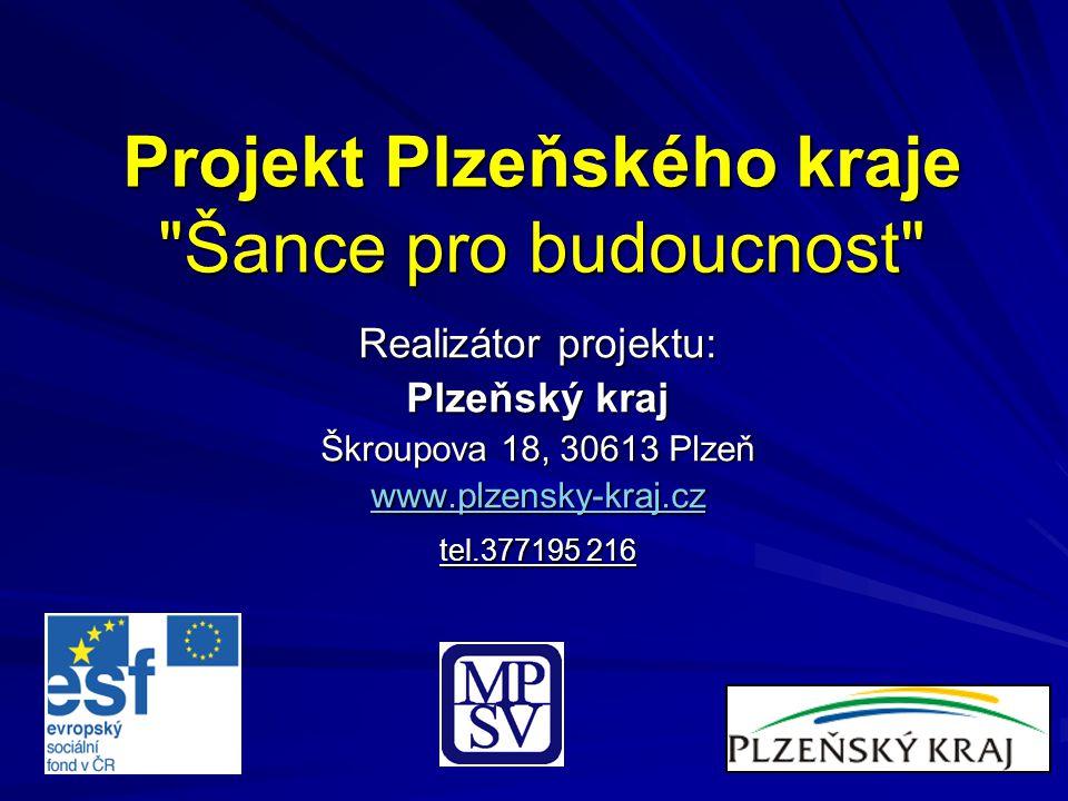 Projekt Plzeňského kraje Šance pro budoucnost Realizátor projektu: Plzeňský kraj Škroupova 18, 30613 Plzeň www.plzensky-kraj.cz tel.377195 216