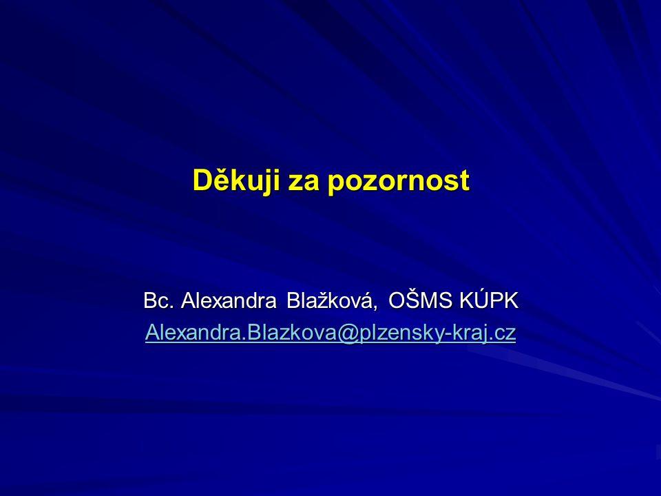 Děkuji za pozornost Bc. Alexandra Blažková, OŠMS KÚPK Alexandra.Blazkova@plzensky-kraj.cz
