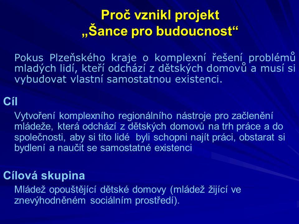 """Proč vznikl projekt """"Šance pro budoucnost Pokus Plzeňského kraje o komplexní řešení problémů mladých lidí, kteří odchází z dětských domovů a musí si vybudovat vlastní samostatnou existenci."""