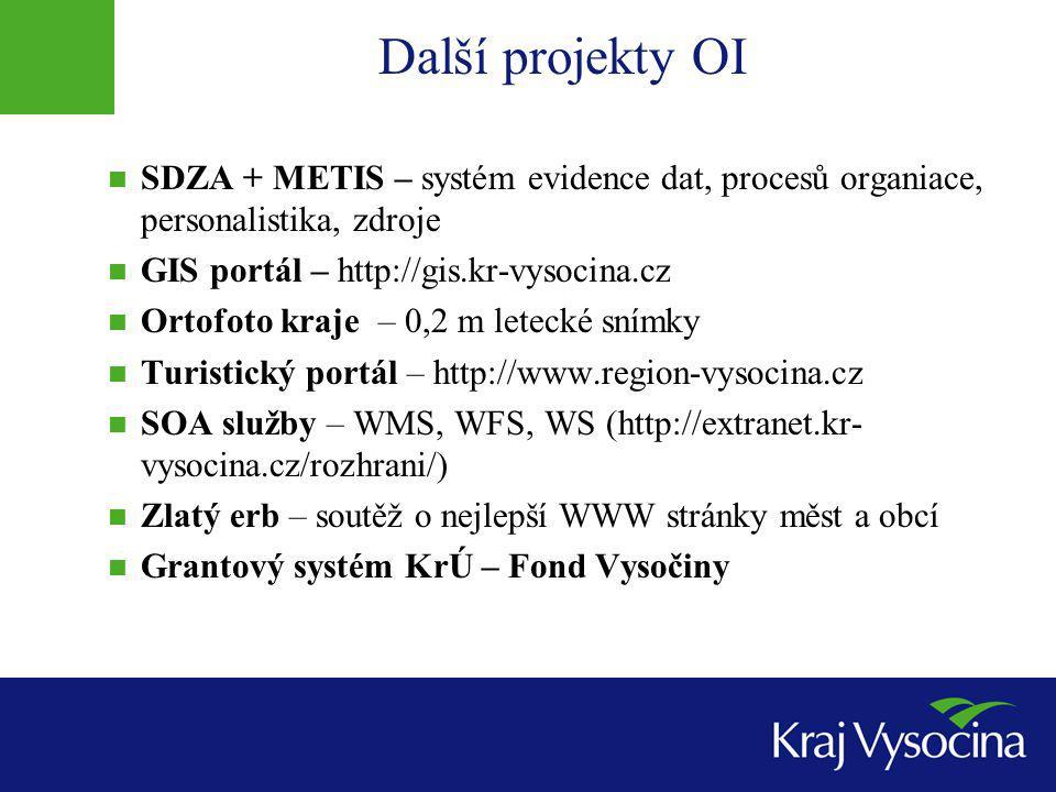 Další projekty OI SDZA + METIS – systém evidence dat, procesů organiace, personalistika, zdroje GIS portál – http://gis.kr-vysocina.cz Ortofoto kraje – 0,2 m letecké snímky Turistický portál – http://www.region-vysocina.cz SOA služby – WMS, WFS, WS (http://extranet.kr- vysocina.cz/rozhrani/) Zlatý erb – soutěž o nejlepší WWW stránky měst a obcí Grantový systém KrÚ – Fond Vysočiny