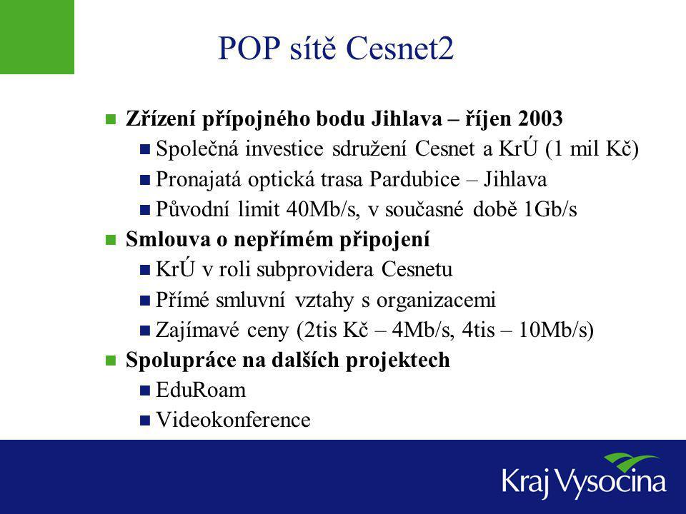 POP sítě Cesnet2 Zřízení přípojného bodu Jihlava – říjen 2003 Společná investice sdružení Cesnet a KrÚ (1 mil Kč) Pronajatá optická trasa Pardubice – Jihlava Původní limit 40Mb/s, v současné době 1Gb/s Smlouva o nepřímém připojení KrÚ v roli subprovidera Cesnetu Přímé smluvní vztahy s organizacemi Zajímavé ceny (2tis Kč – 4Mb/s, 4tis – 10Mb/s) Spolupráce na dalších projektech EduRoam Videokonference