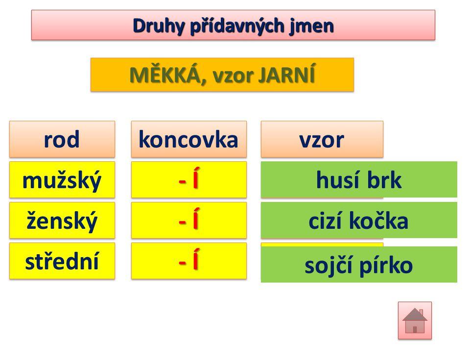 Druhy přídavných jmen MĚKKÁ, vzor JARNÍ rod koncovka vzor mužský ženský střední - Í jarníjarní jarníjarní jarníjarní husí brk cizí kočka sojčí pírko