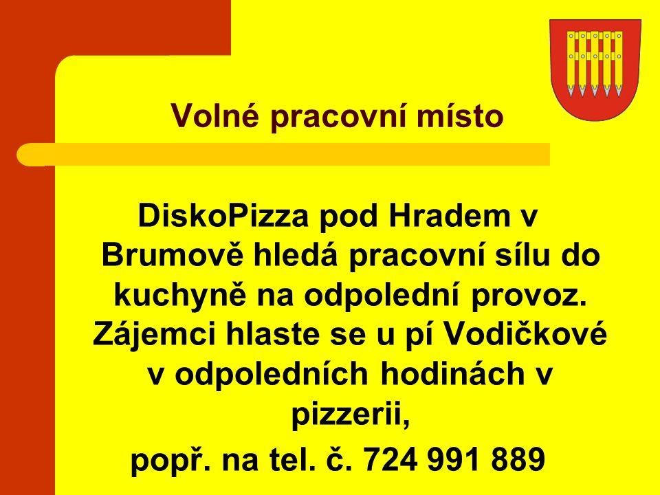 DiskoPizza pod Hradem v Brumově hledá pracovní sílu do kuchyně na odpolední provoz. Zájemci hlaste se u pí Vodičkové v odpoledních hodinách v pizzerii