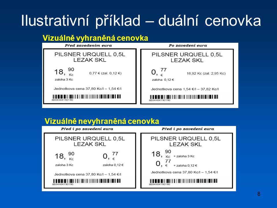 8 Ilustrativní příklad – duální cenovka Vizuálně vyhraněná cenovka Vizuálně nevyhraněná cenovka