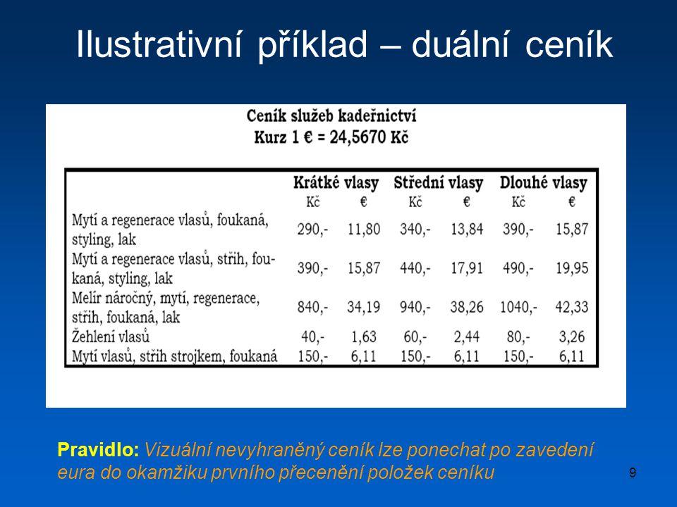 9 Ilustrativní příklad – duální ceník Pravidlo: Vizuální nevyhraněný ceník lze ponechat po zavedení eura do okamžiku prvního přecenění položek ceníku
