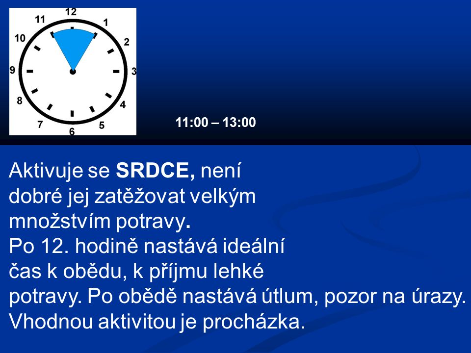 Aktivuje se SRDCE, není dobré jej zatěžovat velkým množstvím potravy. Po 12. hodině nastává ideální čas k obědu, k příjmu lehké potravy. Po obědě nast