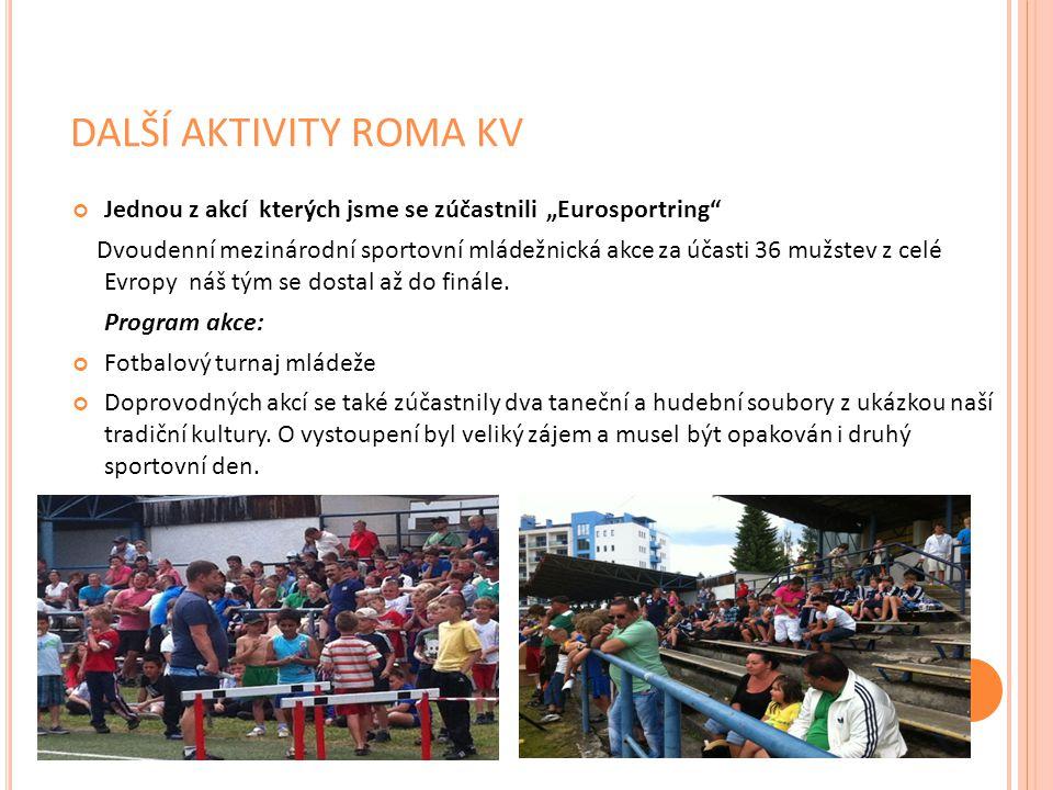 """DALŠÍ AKTIVITY ROMA KV Jednou z akcí kterých jsme se zúčastnili """"Eurosportring"""" Dvoudenní mezinárodní sportovní mládežnická akce za účasti 36 mužstev"""