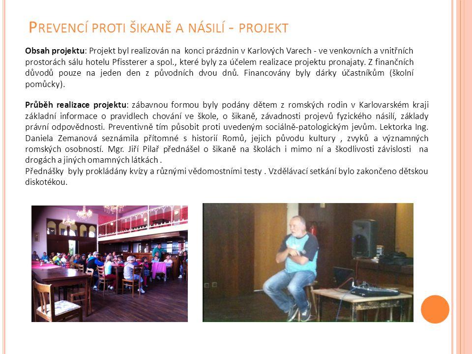 P REVENCÍ PROTI ŠIKANĚ A NÁSILÍ - PROJEKT Obsah projektu: Projekt byl realizován na konci prázdnin v Karlových Varech - ve venkovních a vnitřních pros